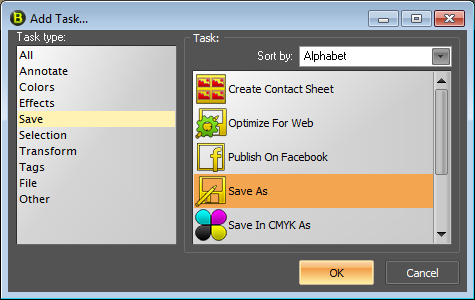 Add Task Dialog Task Save As